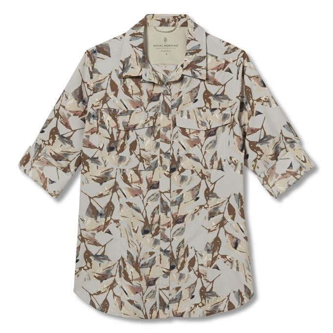 Royal Robbins Bug Barrier Expedition II L/S Print Beige Women's