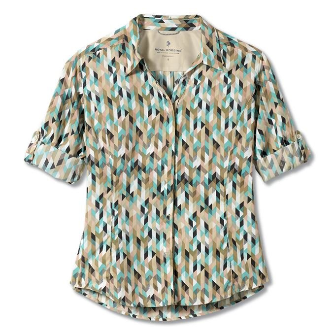 Royal Robbins Expedition Print 3/4 Sleeve Blue, Turquoise Women's