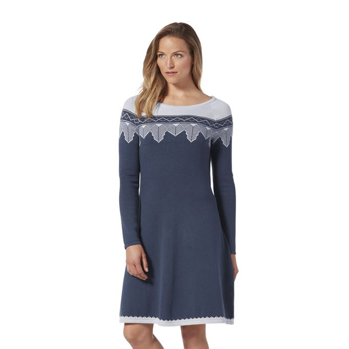 Royal Robbins Women's Dresses Grey, Blue Model Close-up